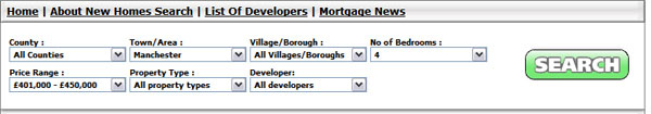 Example of a search for Manchester Properties with 4 Bedrooms costing between £401,000 and £450,000